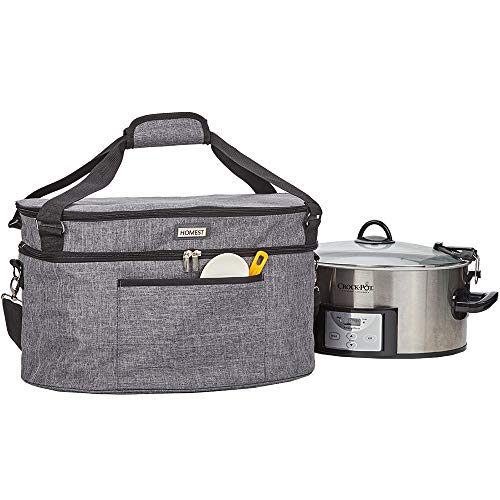 HOMEST Slow Cooker Travel Bag with Easy to Clean Lining, Insulated Carrier with Zippered Accessory Pocket, Carry Case Compatible with Crock Pot 6-8 Quart (Patent Design)