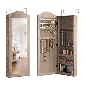 Giantex Jewelry Armoire Cabinet Wall/Door Mounted with Mirror, Rustic Full Length Mirrored Storage Jewelry Organizer with Hooks Ring Earring Slots, Bedroom Armoires Jewelry Cabinets (Natural Wood)