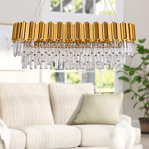 """MEELIGHTING W35"""" Linear Modern Crystal Chandelier Lights Luxury Pendant Ceiling Light Oval Raindrop Contemporary Chandeliers Lighting Fixture for Dining Living Room Kitchen Island Bedroom Gold"""