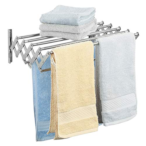Ogrmar Stainless Steel Space-Saving Towel Rack, Wall Mounted Retractable Huge Capacity Drying Rack for Hanging Towels