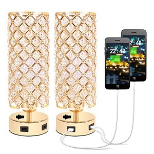 Crystal Table Lamp, Gold Lamp Sets, USB Desk Lamp with USB Charging Ports, Bedside Lights with Metal Base, Decorative Lamp Modern Nightstand Lamp for Bedroom, Living Room, Home Office(Set of 2)