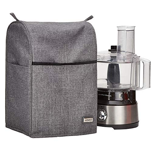 HOMEST Food Processor Dust Cover with Accessory Pockets Compatible with Hamilton Beach 8-10 Cup, Grey (Dust Cover Only, Patent Pending)