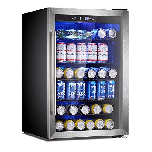 Antarctic Star Beverage Refrigerator Cooler-120 Can Mini Fridge Clear Glass Door for Soda Beer Wine Stainless Steel Glass Door Small Drink Dispenser Machine Digital Display for Office,Home, Bar,4.5cu.ft