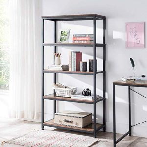 AMOAK Industrial Bookshelf and Bookcase 5 Tier, Wood and Metal Bookshelves Storage Shelves for Home Office, Sturdy Easy Assembly, Retro Brown