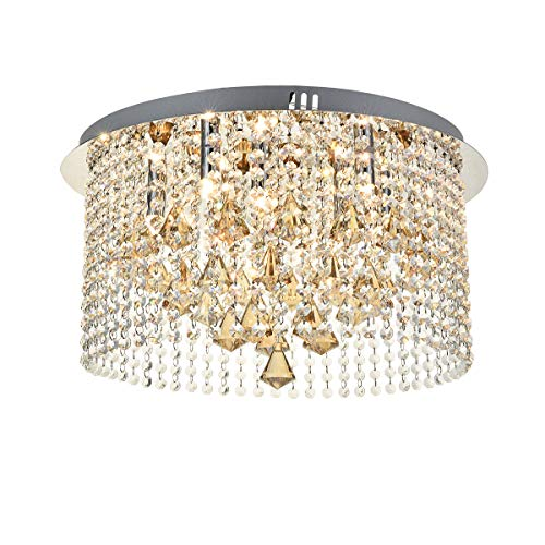 Round Jewel Crystal Chandelier, JJGD Modern Clear Crystal Raindrop Ceiling Light Flush Mount Luxury Chrome Chandeliers Lights for Living/Dining Room, Bedroom, Foyer, Stairway, Size: D20'' H10.5''