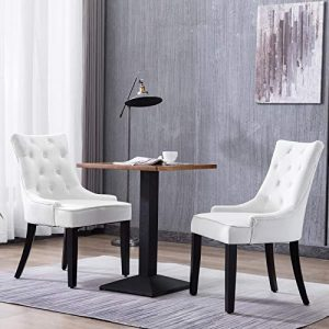 Mecor Tufted Fabric Dining Chairs Set of 2,Leisure Velvet Padded Chairs with Nailhead Trim,Solid Wooden Legs (White)
