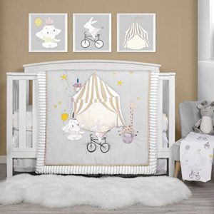 TILLYOU Luxury 4 Pieces Embroidered Crib Bedding Set (Comforter, Crib Sheets, Crib Skirt) - Party & Playground Theme Printed Nursery Bedding Set for Boys Girls, Gray & White
