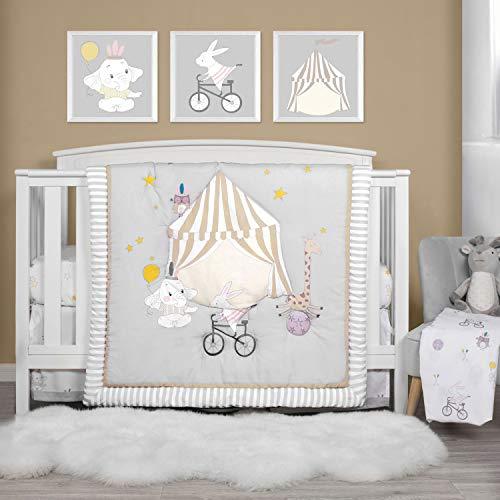TILLYOU Luxury 4 Pieces Embroidered Crib Bedding Set (Comforter, Crib Sheets, Crib Skirt) - Party & Playground Theme Printed Nursery Bedding Set for Boys Girls, Gray & White