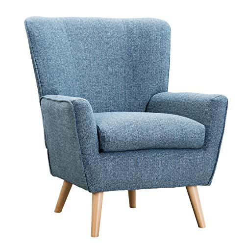 Accent Chair for Living Room, Fabric Reading Chair for Bedroom, Modern Chair Wingback, Reading Chair for Bedroom, Blue