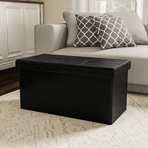 Lavish Home Large Foldable Storage Bench Ottoman – Tufted Faux Leather Cube Organizer Furniture for Home, Bedroom, Living Room, Dorm or RV (Black)