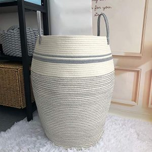 Woven Basket Laundry Hamper Modern, Large Dirty Clothes Hampers for Bathroom or Bedroom Corner, Tall Cotton Rope, Sturdy&Heavy Duty