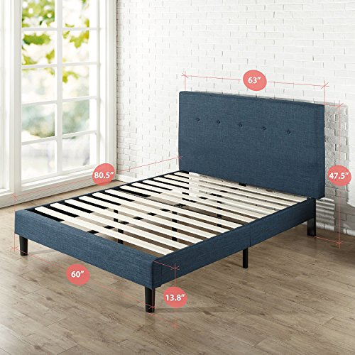 Zinus Omkaram Upholstered Navy Button Detailed Platform Bed / Mattress Package deal Dimensions: 84.zero x 63.four x 47.7 inches