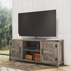 FITUEYES Farmhouse Barn Door Wood TV Stands for 65 inch Flat Screen, Media Console Storage Cabinet, Rustic Gray Wash Entertainment Center for Living Room, 59 Inch