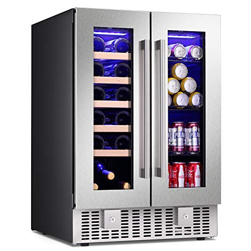 Antarctic Star 24 Inch Beverage Refrigerator Buit-in Wine Cooler Dual Zone 2-Door Mini Fridge Digital Memory Temperature Control, LED Light, Quiet Operation, Energy Saving, Hold 18 Bottles 60 Cans