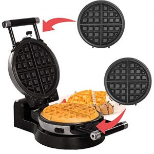 Health and Home Upgrade Automatic 360 Rotating Belgian Waffle Maker with Removable Plates, Black + Silver, 2 Year Warranty, KS-308
