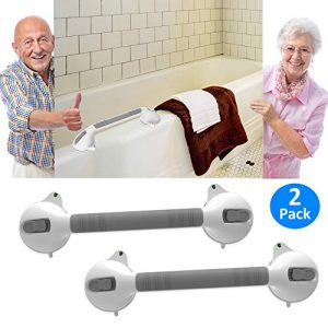 "AmeriLuck Suction Bath Grab Bar 16.5"" with Indicators, Bathroom Shower Handle (White, 2 Pack)"