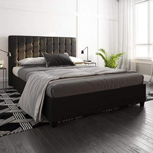 DHP Emily Upholstered Faux Leather Platform Bed with Wooden Slat Support, Tufted Headboard, Full Size - Black