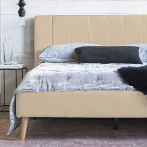 Full Size Platform Bed Frame and Tufted Upholstered Headboard, Mattress Foundation & Wooden Slat Support - No Spring Box Needed Bedframes, Wood Bedframe (Beige White)