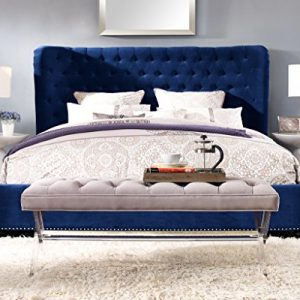 TOV Furniture The Finley Collection Contemporary Style Velvet Upholstered Button Tufted Wingback Bed with Nailhead Trim, King Size, Blue
