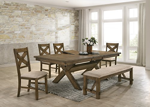 Roundhill Furniture Raven Wood Dining Set: Butterlfy Leaf Table, Four Chairs, Bench, Glazed Pine Brown