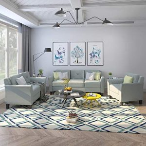 Harper & Bright Designs 3 Pieces Living Room Sets, Living Room Furniture Sofa Set Include Armchair Loveseat Couch