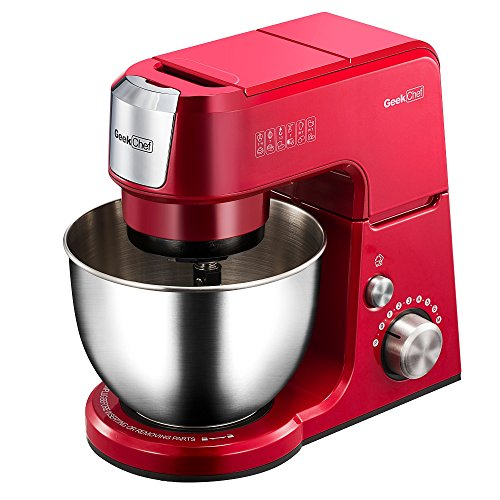 Geek Chef Mini 4-in-1 Stand Mixer: Multi-function, 2.6 Quart Stainless Steel Bowl, 7 Speeds with pulse, Die-cast Tilt Head. Includes Pouring Shield, Beater, Whisk and Dough Hook (Red)