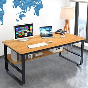 "Computer Desk 47 Modern Sturdy Office Desk,Solid Wood Office Desk Study Writing Desk for Home Office,Light Walnut (47.2"")"