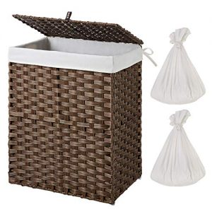 Greenstell Handwoven Laundry Hamper with 2 Removable Liner Bag, Synthetic Rattan Laundry Basket with Lid and Handles, Foldable and Easy to Install Brown (Standard Size)