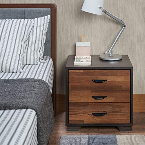 Depointer 3 Drawers Nightstand,Wood Bedside Storage Cabinet, Accent End Side Table Chest, Perfect for Home Furniture, Bedroom Living Room Accessories,Walnut&Espresso