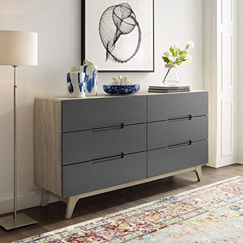Modway Origin Contemporary Mid-Century Modern 6-Drawer Bedroom Dresser in Natural Gray