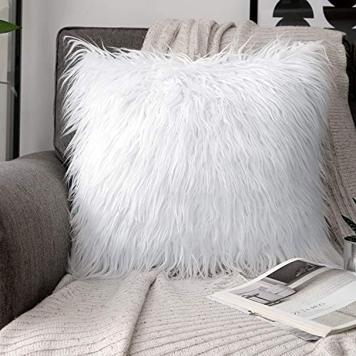 Phantoscope Luxury Series Throw Pillow Covers Faux Fur Mongolian Style Plush Cushion Case for Couch Bed and Chair, True White, 20 x 20 inches, 50 x 50 cm