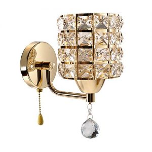 INHDBOX E27 Crystal Wall Lamp, Wall Light Sconces Lighting Fixture,Pull Chain Switch-Include 5W Bulb
