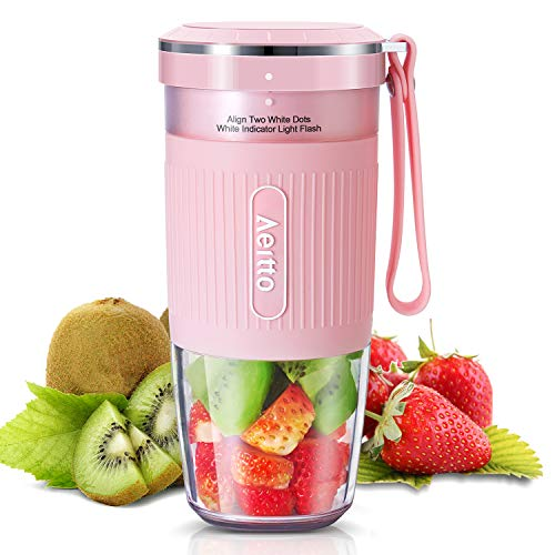Portable Blender, Cordless Personal Blender Juicer, Mini Mixer, Smoothies Maker Fruit Blender Bottle Cup With USB Rechargeable, BPA Free, 10oz,for Home, Office, Sports, Travel, Outdoors, by Aeitto