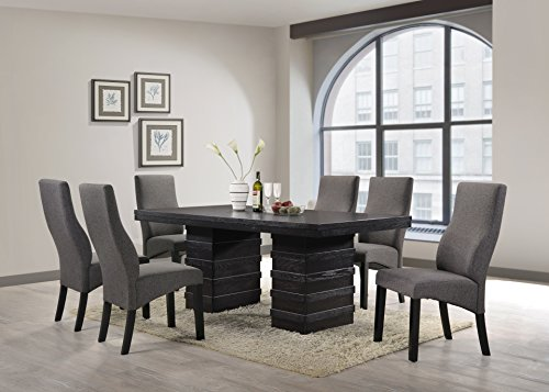 Kings Brand Furniture - Cappuccino Wood Wave Design Dining Room Kitchen, Table & 6 Chairs