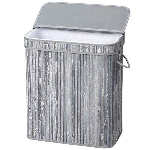 SONGMICS Bamboo Laundry Hamper, 100L Foldable Storage Basket, Dirty Clothes Bin Box with Lid, Handles, Removable Liner, Rectangular, Distressed Gray ULCB63GW