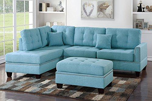 Poundex PDEX- Sofas, Light Blue
