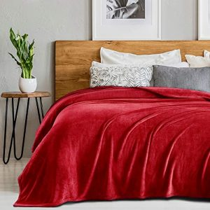 SEDONA HOUSE Red Throw Flannel Blanket Premium Soft Microplush - 280GSM Luxury Plush Blankets Super Soft Warm Fuzzy Cozy Lightweight Blankets for Bed Couch or Car