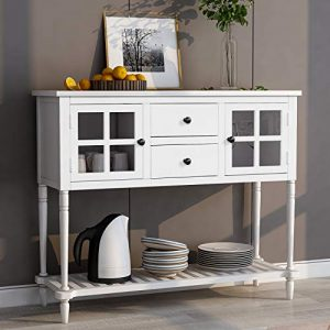 Wood Console Sofa Table with Drawers and Bottom Shelf, Storage Buffet Sideboard Cabinet for Kitchen/Entryway Side Table for Living Room (White)