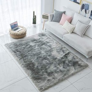 Carvapet Shaggy Soft Faux Sheepskin Fur Area Rugs Floor Mat Luxury Bedside Carpet for Bedroom Living Room, 8ft x 10ft,Grey