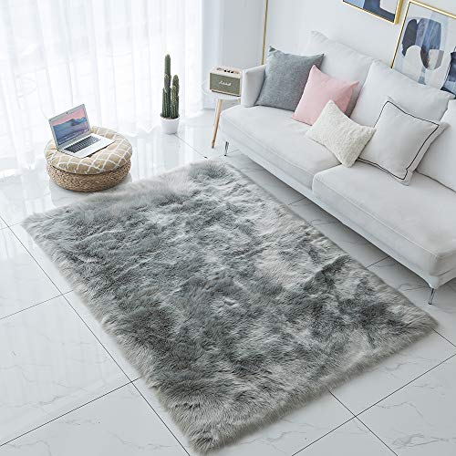 Carvapet Shaggy Soft Faux Sheepskin Fur Area Rugs Floor Mat Luxury Bedside Carpet for Bedroom Living Room, 8ft x 10ft,Grey