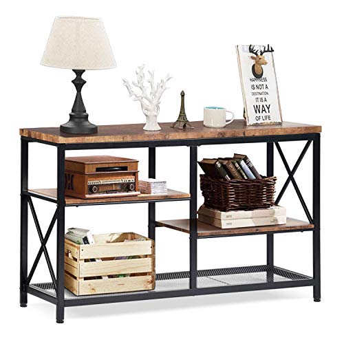 charaHOME Rustic Console Table, Industrial Sofa Table for Entryway, Hallway, Living Room, Behind The Couch, 51 Inch Long Table, 3-Tier X Design Narrow Entryway Table with Storage