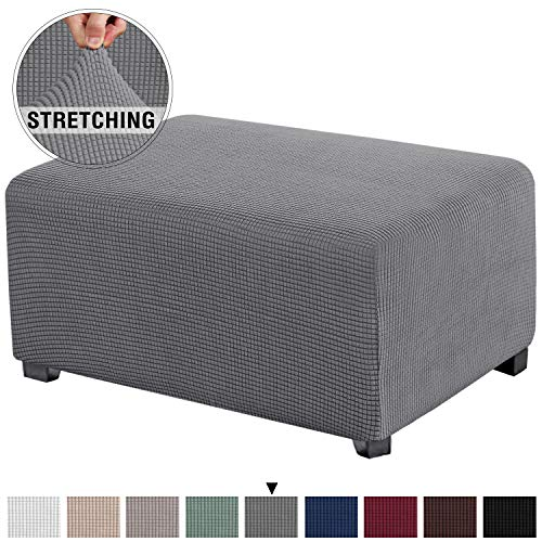 Stretch Ottoman Cover Ottoman Slipcovers Rectangle for Living Room Foot Stool Stretch Covers to Fit Ottoman Foot Rest, Thick Checked Jacquard Fabric with Elastic Bottom (Oversized Ottoman, Grey)