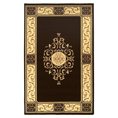 Superior Elegant Medallion Collection 5' x 8' Area Rug, Attractive Rug with Jute Backing, Durable and Beautiful Woven Structure, Floral Medallion Rug with Broad Border - Coffee