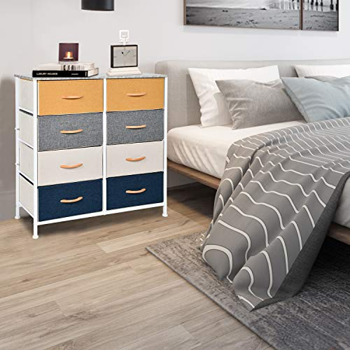 WAYTRIM 4-Tier Wide Drawer Dresser, Storage Unit WAYTRIM 4-Tier Wide Drawer Dresser, Storage Unit with 8 Easy Pull Fabric Drawers and Metal Frame, Wood Top, Organizer Unit for Bedroom, Hallway, Entryway, Closets - Orange, Blue, Gray.