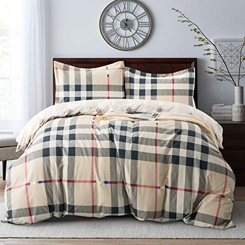 Villa Feel Classic Checker Duvet Cover King-100% Egyptian Cotton Bedding,Gingham Plaid Printed,3 Piece Set Percale Weave with Zipper Closure and Corner Ties(Classic Checker,King)