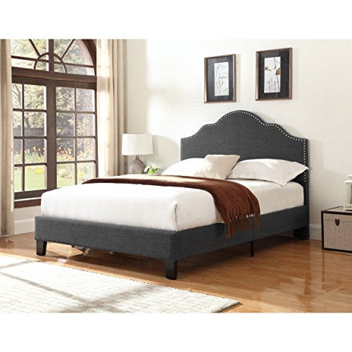 Upholstered Bed With Nailhead, Padded Headboard Guarantee: 1 12 months producer.
