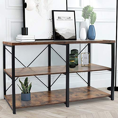 """NSdirect Console Sofa Table,55"""" Rustic Console Table&TV Stand,Industrial 3-Tier Long Hallway/Entryway Table with Storage Open Bookshelf for Living Room Bedroom Entryway,Brown Oak"""