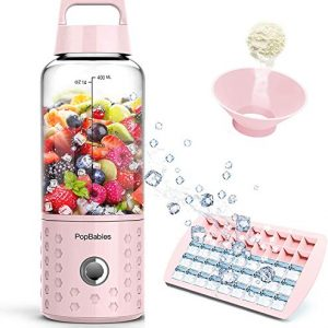 PopBabies Portable, Personal USB Rechargeable Small Blender for Shakes and Smoothies, Stronger and Faster, Princess Pink