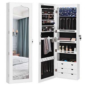 "SONGMICS Extended 4.9"" Depth LED Jewelry Cabinet Armoire with 6 Drawers Lockable Door/Wall Mounted Jewelry Organizer White Patented Mother's Day gift UJJC88W"