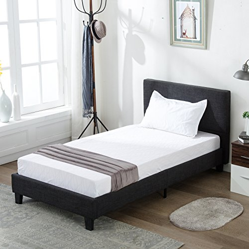 Mecor Upholstered Linen Twin Platform Bed Metal Frame with Wood Slat Support,Square Stitched Headboard,Black/Twin Size